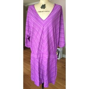 Athleta Sparkledust Purple Silver Striped Dress L